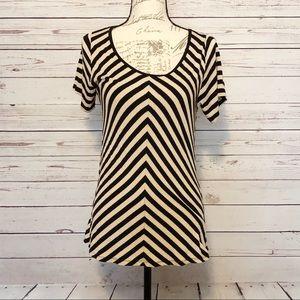 LuLaRoe Black and Cream Striped Blouse